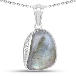 4.89 Carat Genuine Labradorite And White Topaz .925 Sterling Silver Pendant