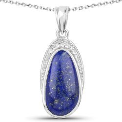 7.58 Carat Genuine Lapis And White Topaz .925 Sterling Silver Pendant