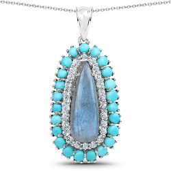 """7.66 Carat Genuine Labradorite, Turquoise And Blue Topaz .925 Sterling Silver Pendant"""