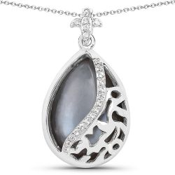 8.83 Carat Genuine Grey Moonstone And White Topaz .925 Sterling Silver Pendant
