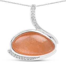 6.56 Carat Genuine Peach Moonstone And White Topaz .925 Sterling Silver Pendant