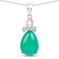 4.34 Carat Genuine Green Onyx And White Topaz .925 Sterling Silver Pendant