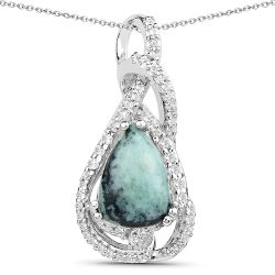 2.69 Carat Genuine Green Jasper and White Topaz .925 Sterling Silver Pendant