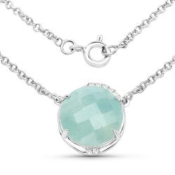 6.71 Carat Genuine Aquamarine and White Topaz .925 Sterling Silver Pendant