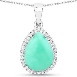 3.73 Carat Genuine Crysopharse and White Topaz .925 Sterling Silver Pendant