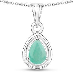 0.62 Carat Genuine Emerald .925 Sterling Silver Pendant