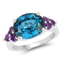 6.60 Carat Genuine London Blue Topaz & Amethyst .925 Sterling Silver Ring