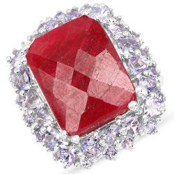 15.13 Carat Dyed Ruby & Tanzanite .925 Sterling Silver Ring