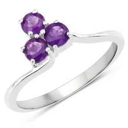 0.72 Carat Genuine Amethyst .925 Sterling Silver Ring