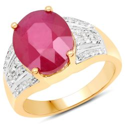14K Yellow Gold Plated 5.49 Carat Glass Filled Ruby and White Topaz .925 Sterling Silver Ring