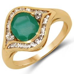 14K Yellow Gold Plated 2.34 Carat Genuine Emerald & White Topaz .925 Sterling Silver Ring