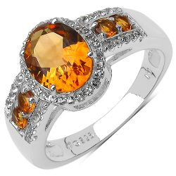 2.31 Carat Genuine Citrine & White Topaz .925 Sterling Silver Ring