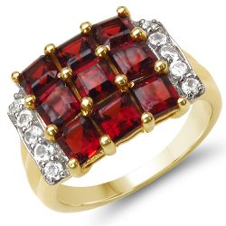 14K Yellow Gold Plated 4.04 Carat Genuine Garnet & White Topaz .925 Sterling Silver Ring