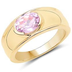 14K Yellow Gold Plated 2.40 Carat Genuine Kunzite .925 Sterling Silver Ring