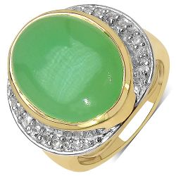 14K Yellow Gold Plated 11.33 Carat Genuine Prehnite & White Topaz .925 Streling Silver Ring