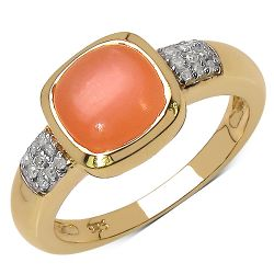 14K Yellow Gold Plated 2.10 Carat Genuine Moonstone & White Diamond .925 Streling Silver Ring