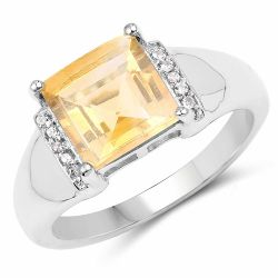 2.40 Carat Genuine Citrine & White Topaz .925 Sterling Silver Ring