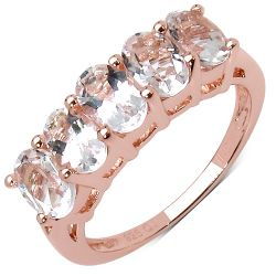 14K Rose Gold Plated 2.15 Carat Genuine Morganite .925 Sterling Silver Ring