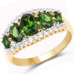 18K Yellow Gold Plated 2.70 Carat Genuine Chrome Diopside and White Topaz .925 Sterling Silver Ring
