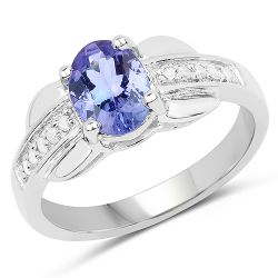 1.27 Carat Genuine Tanzanite and White Diamond .925 Sterling Silver Ring