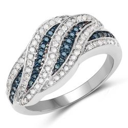 0.47 Carat Genuine Blue Diamond & White Diamond .925 Sterling Silver Ring
