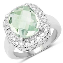 4.09 Carat Genuine Green Amethyst .925 Sterling Silver Ring