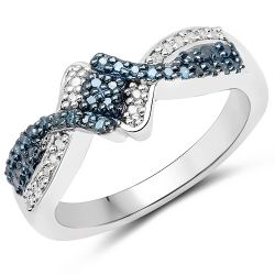 0.25 Carat Genuine Blue Diamond and White Diamond .925 Sterling Silver Ring
