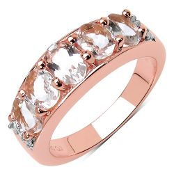 14K Rose Gold Plated 1.89 Carat Genuine Morganite .925 Sterling Silver Ring