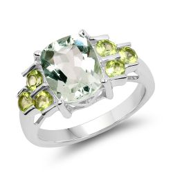 3.45 Carat Genuine Green Amethyst & Peridot .925 Sterling Silver Ring