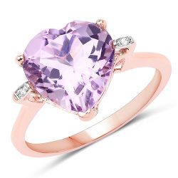 18K Rose Gold Plated 5.26 Carat Genuine Pink Amethyst and White Topaz .925 Sterling Silver Ring