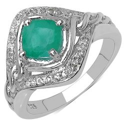 1.14 Carat Genuine Emerald & White Topaz .925 Streling Silver Ring