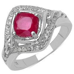1.91 Carat Genuine Ruby & White Topaz .925 Streling Silver Ring