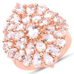 14K Rose Gold Plated 4.55 Carat Genuine Morganite .925 Sterling Silver Ring