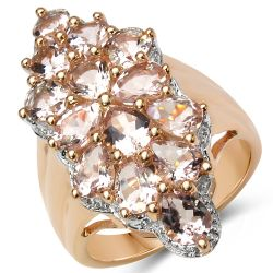 18K Rose Gold Plated 3.08 Carat Genuine Morganite .925 Sterling Silver Ring