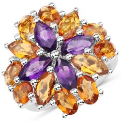 7.96 Carat Genuine Amethyst & Madeira Citrine .925 Sterling Silver Ring