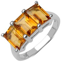 3.00 Carat Genuine Citrine .925 Streling Silver Ring
