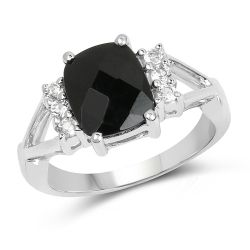 2.59 Carat Genuine Black Onyx & White Topaz .925 Sterling Silver Ring