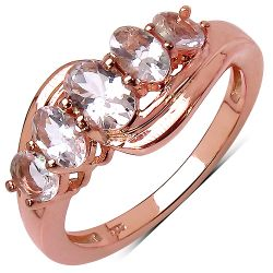 14K Rose Gold Plated 1.35 Carat Genuine Morganite .925 Streling Silver Ring