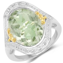 7.95 Carat Genuine Green Amethyst & White Diamond .925 Sterling Silver Ring