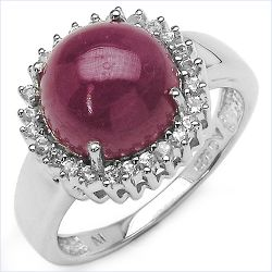 6.81 Carat Genuine Ruby & White Topaz .925 Streling Silver Ring