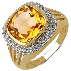 14K Yellow Gold Plated 3.78 Carat Genuine Citrine & White Topaz .925 Streling Silver Ring