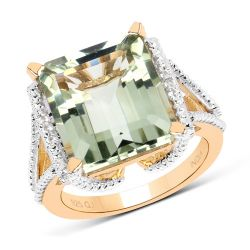 14K Yellow Gold Plated 9.06 Carat Genuine Green Amethyst and White Topaz .925 Sterling Silver Ring