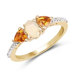 """14K Yellow Gold Plated 0.81 Carat Genuine Ethiopian Opal, Citrine & White Topaz .925 Sterling Silver Ring"""