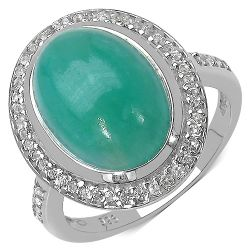 6.16 Carat Genuine Emerald & White Topaz .925 Streling Silver Ring