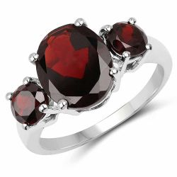 5.01 Carat Genuine Garnet .925 Sterling Silver Ring