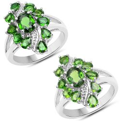 2.40 Carat Genuine Chrome Diopside .925 Sterling Silver Ring