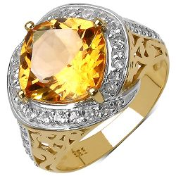 14K Yellow Gold Plated 4.35 Carat Genuine Citrine & White Topaz .925 Streling Silver Ring
