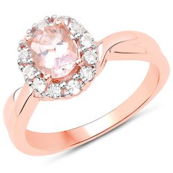 14K Rose Gold Plated 1.08 Carat Genuine Morganite and White Topaz .925 Sterling Silver Ring