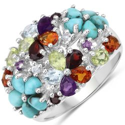4.03 Carat Genuine Multi Stones .925 Sterling Silver Ring