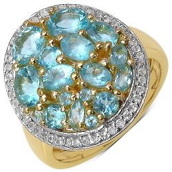 14K Yellow Gold Plated 2.45 Carat Genuine Apatite & White Topaz .925 Streling Silver Ring